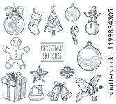 christmas vector hand drawn...   Shutterstock .eps vector #1199834305