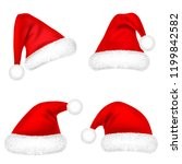 christmas santa claus hats with ... | Shutterstock .eps vector #1199842582