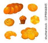 set vector sweet bread icons.... | Shutterstock .eps vector #1199846845