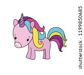 cute unicorn cartoon character  ... | Shutterstock .eps vector #1199850685