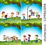 kids with fun activity...   Shutterstock .eps vector #1199862898