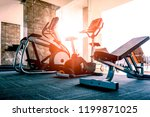 luxury fitness room with new...   Shutterstock . vector #1199871025