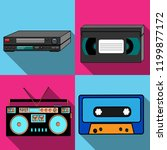 a set of four simple flat style ... | Shutterstock .eps vector #1199877172