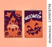 set of halloween greeting... | Shutterstock .eps vector #1199878798