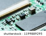 computer chip on a circuit board   Shutterstock . vector #1199889295