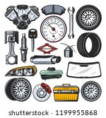 car auto parts icons and tools. ... | Shutterstock .eps vector #1199955868