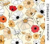 seamless hand drawn floral... | Shutterstock . vector #1199958412