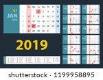 vector calendar 2019. blue set. ... | Shutterstock .eps vector #1199958895