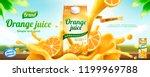 orange juice drink banner ads... | Shutterstock .eps vector #1199969788
