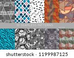 collection of seamless patterns.... | Shutterstock .eps vector #1199987125