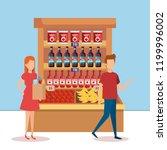 couple in supermarket shelving... | Shutterstock .eps vector #1199996002