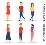 group of young people characters | Shutterstock .eps vector #1199996032