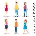 group of young people characters | Shutterstock .eps vector #1199996035