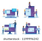 mini people with electronic... | Shutterstock .eps vector #1199996242