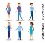 group of young people characters | Shutterstock .eps vector #1199997955