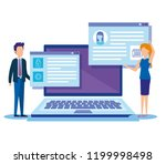 mini people with laptop | Shutterstock .eps vector #1199998498