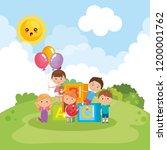 cute little kids on park   Shutterstock .eps vector #1200001762