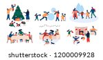 collection of family enjoying... | Shutterstock .eps vector #1200009928