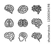 brain icon set. outline set of... | Shutterstock . vector #1200034198