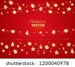 christmas golden decoration on... | Shutterstock .eps vector #1200040978