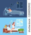 lady peaceful sleeping under... | Shutterstock . vector #1200050902