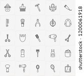 barbershop line icon set with... | Shutterstock .eps vector #1200061918