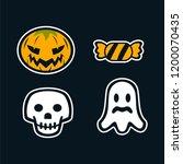 sticker halloween fullset   Shutterstock .eps vector #1200070435