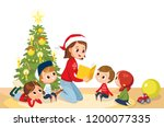 young mother with kids on... | Shutterstock .eps vector #1200077335