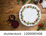 traditional christmas cake with ... | Shutterstock . vector #1200085408