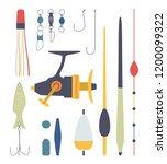 set of fishing equipment....   Shutterstock . vector #1200099322
