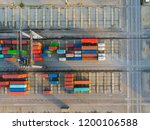 aerial view of containers at... | Shutterstock . vector #1200106588