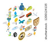 receiving a reward icons set.... | Shutterstock .eps vector #1200124135