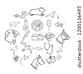 domesticated animals icons set. ... | Shutterstock .eps vector #1200136495