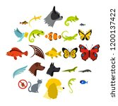 tropical animals icons set....   Shutterstock .eps vector #1200137422