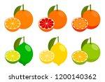 icons vector citrus fruits ... | Shutterstock .eps vector #1200140362