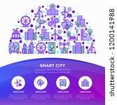 smart city concept in half... | Shutterstock .eps vector #1200141988