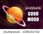good food is good mood. funny... | Shutterstock .eps vector #1200151762