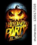 halloween party poster ... | Shutterstock .eps vector #1200171535