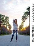 japanese girl poses on the...   Shutterstock . vector #1200172312