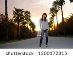 japanese girl poses on the... | Shutterstock . vector #1200172315