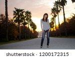 japanese girl poses on the...   Shutterstock . vector #1200172315