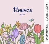 vector hand drawn flowers... | Shutterstock .eps vector #1200182695
