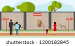 zoo  predators in cages. adults ... | Shutterstock .eps vector #1200182845