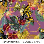 Tropical Pattern With Bees...