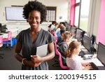portrait of female teacher... | Shutterstock . vector #1200194515