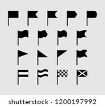 set of 17 silhouette flat flags ... | Shutterstock .eps vector #1200197992