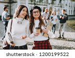 campus. books. coffee. girls.... | Shutterstock . vector #1200199522