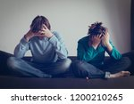 stressed couple  problems ... | Shutterstock . vector #1200210265