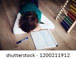 little boy tired stressed of... | Shutterstock . vector #1200211912