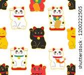 Stock vector maneki neko happy cat seamless pattern vector 1200222505